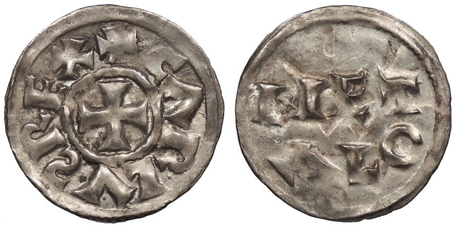 World Coins - CAROLINGIANS Melle Charles the Simple (le Simple) 897-922 AD Denier Superb EF