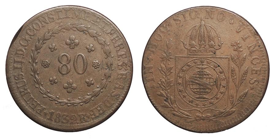 World Coins - BRAZIL Pedro II 1832-R 80 Reis EF