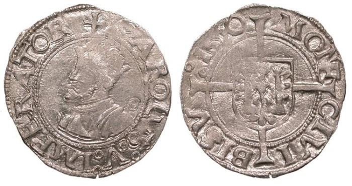 World Coins - FRANCE Besançon Charles V, as Holy Roman Emperor 1530-1556 1/2 Blanc EF