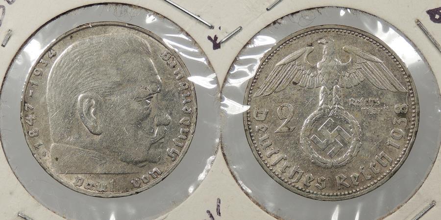 World Coins - GERMANY: 1938-J Hindenburg. 2 Mark