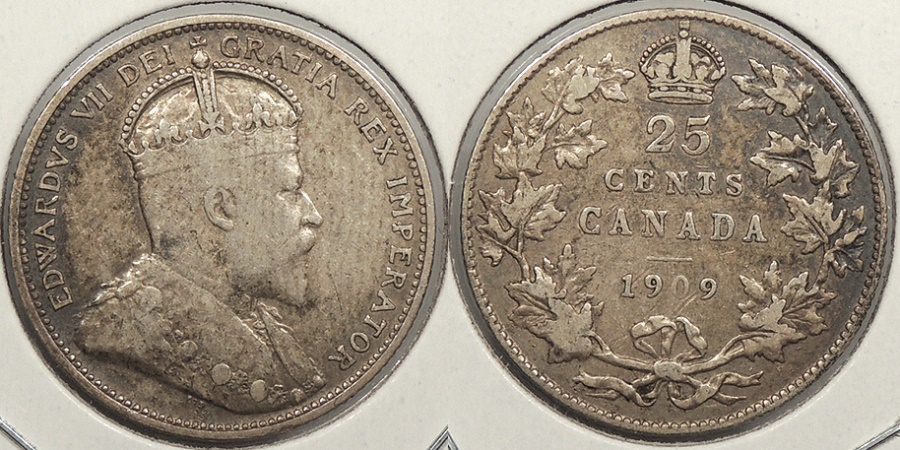 World Coins - CANADA: 1909 25 Cents