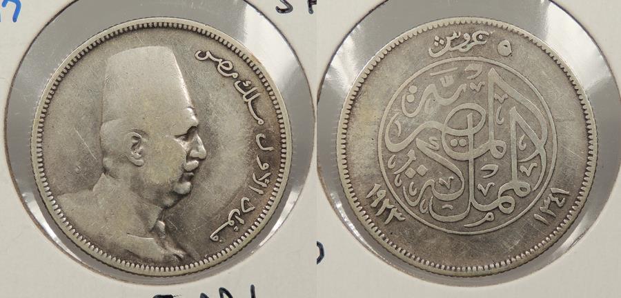 World Coins - EGYPT: AH 1341 / 1923 Faud I 5 Piastres