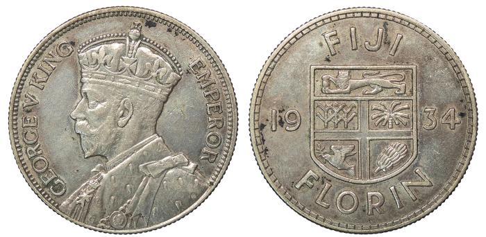 World Coins - FIJI George V 1934 Florin EF