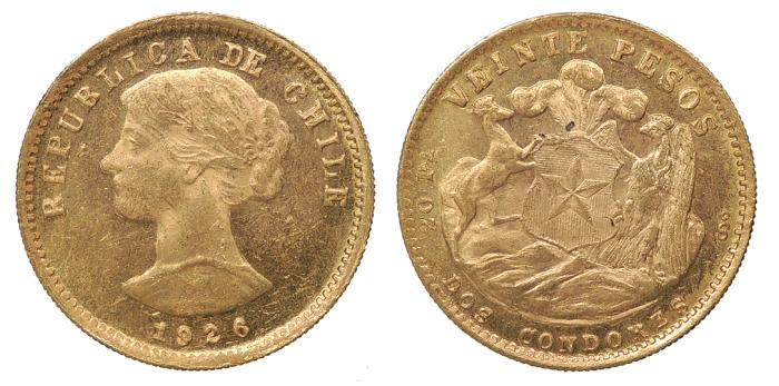 World Coins - CHILE 1926-So 20 Pesos UNC