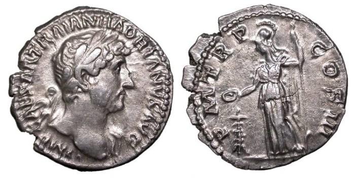 Ancient Coins - Hadrian 117-138 A.D. Denarius Rome Mint Good VF