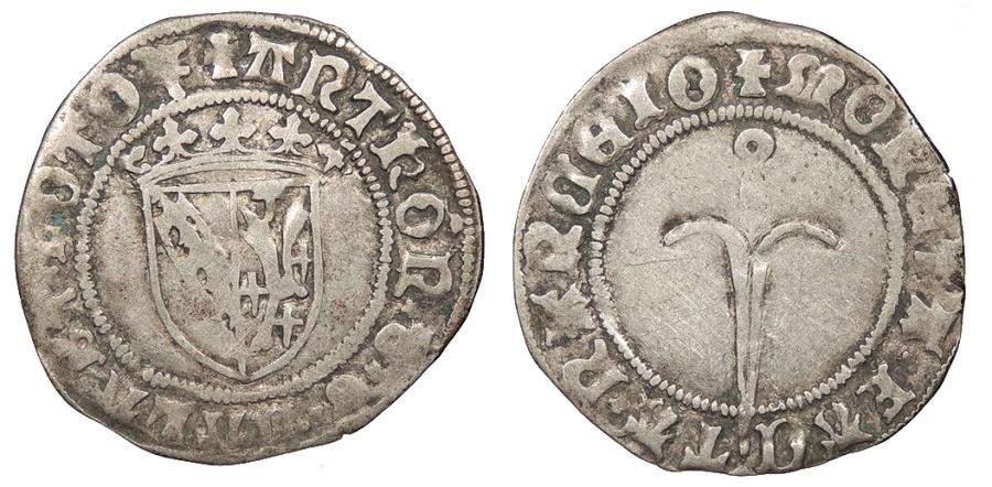 World Coins - FRANCE Lorraine (Louvaine or Lothringen) Antoine 1508-1544 Quart de Plaque VF