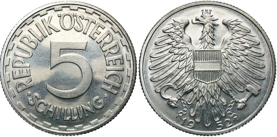 World Coins - AUSTRIA: 1952 5 Schilling