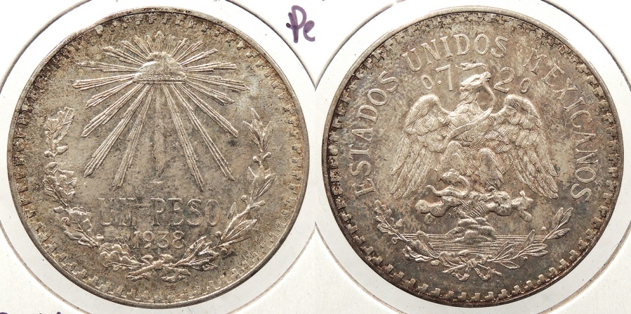 World Coins - MEXICO: 1938-M PL fields. Peso