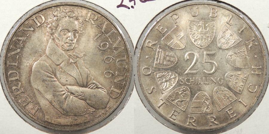 World Coins - AUSTRIA: 1966 Ferdinand Ralmund 25 Schillings #WC63858