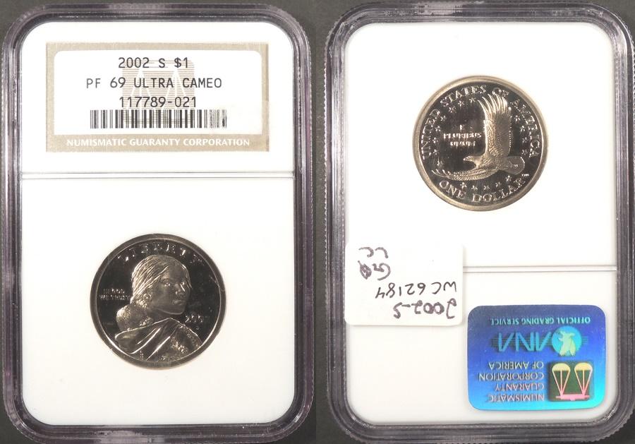 US Coins - 2002 S Sacagawea 1 Dollar (Clad) NGC PF-69 UCAM
