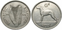 World Coins - IRELAND: 1934 6 Pence