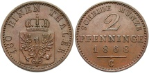 World Coins - GERMAN STATES: Prussia 1868-C 2 Pfennig