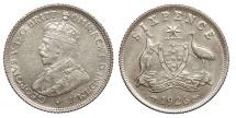 World Coins - AUSTRALIA George V 1926 Sixpence AU