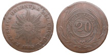 World Coins - URUGUAY Oriental Republic 1843/0 20 Centavos Near EF
