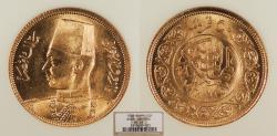 World Coins - EGYPT Farouk 1938 / AH 1357 50 Piastres NGC MS-65