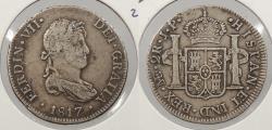 World Coins - PERU: 1817-LIMAE JP Ferdinand VII 2 Reales