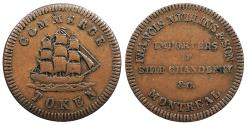 World Coins - CANADA Lower Canada Montreal Francis Mullins ND (1828) AE Halfpenny Token EF