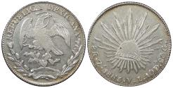 World Coins - MEXICO 1863-Zs VL 8 Reales AU