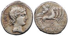 Ancient Coins - C. Vibius C.f. Pansa 90 B.C. Denarius Rome Mint VF