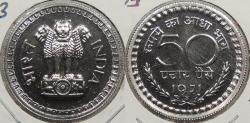 World Coins - INDIA: 1971-B Low Mintage; 4,375 struck. 50 Paise Proof
