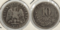 World Coins - MEXICO: 1884-Pi H 10 Centavos