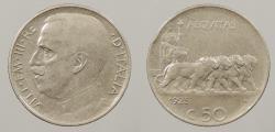World Coins - ITALY: 1925 Lion quadriga 50 Centesimi