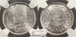 World Coins - EGYPT Farouk 1942 / AH 1361 2 Piastres NGC MS-63