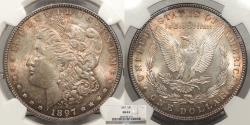 Us Coins - 1897 Morgan 1 Dollar (Silver) NGC MS-63