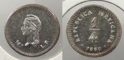 World Coins - MEXICO: Republic 1860/50-Mo LR 1/4 Real