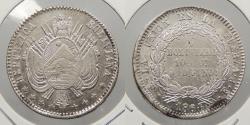 World Coins - BOLIVIA: 1864-Potosi FP 1/5 Boliviano