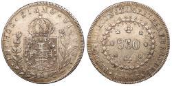 World Coins - BRAZIL Pedro I 1824-R 960 Reis AU