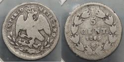 World Coins - MEXICO: Maximilian 1865-G 5 Centavos