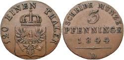 World Coins - GERMAN STATES: Prussia 1844-D 3 Pfennig