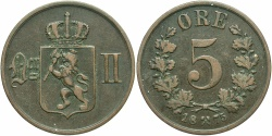 World Coins - NORWAY: 1875 5 Ore