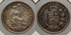 World Coins - PERU: 1916 Colorful toning. 1/2 Dinero