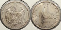 World Coins - GERMANY: Weimar Republic 1924-A Mark