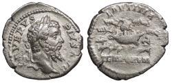 Ancient Coins - Septimius Severus 193-211 A.D. Denarius Rome Mint VF Ex David Bailey collection.