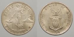 World Coins - PHILIPPINES: 1944-S 50 Centavos