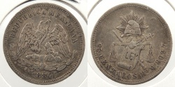 World Coins - MEXICO: Hermosillo 1884-Ho M 25 Centavos