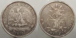 World Coins - MEXICO: Oaxaca 1870-Oa E Small 'A'. Peso