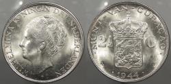 World Coins - CURACAO (CURAÇAO): 1944-D Denver Mint. 2-1/2 Gulden