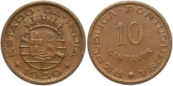 World Coins - INDIA: 1959 10 Centavos
