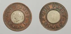 World Coins - GREAT BRITAIN: ND (1844) Moor's Model; White metal center. Penny