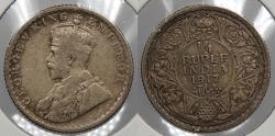 World Coins - INDIA: 1917( c) George V 1/4 Rupee