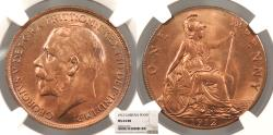 World Coins - GREAT BRITAIN George V 1912 Penny NGC MS-64 RB