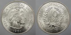 World Coins - URUGUAY: 1961 10 Pesos