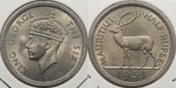 World Coins - MAURITIUS: 1951 George VI 1/2 Rupee
