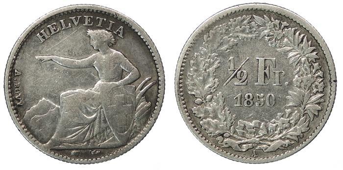 World Coins - SWITZERLAND Confederation 1850-A 1/2 Franc Good Fine