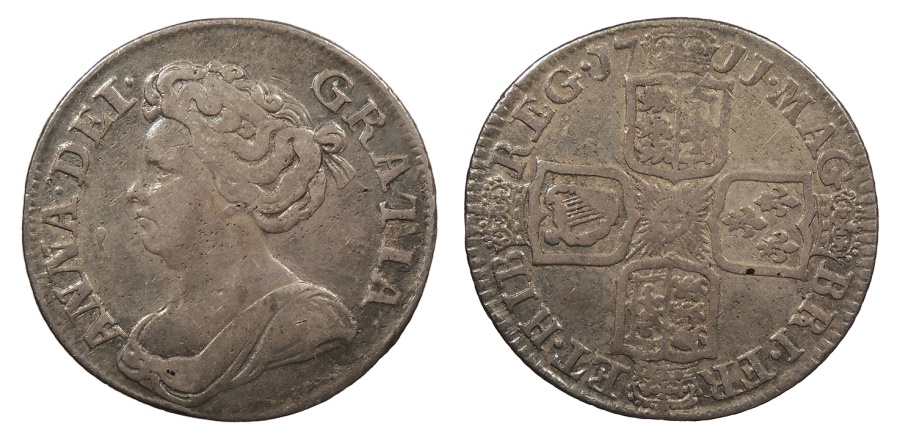 World Coins - GREAT BRITAIN Anne 1711 Shilling Near VF