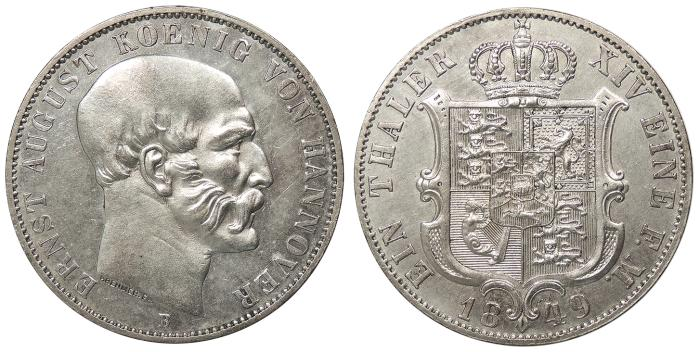 World Coins - GERMAN STATES Hannover Ernst August 1849-B Thaler AU
